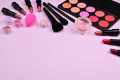 Free Professional Makeup Products With Cosmetic Beauty Products, Blushes, Eye Liner, Eye Lashes, Brushes And Tools Stock Photo - 147088450