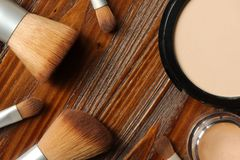 Professional makeup and a set of brushes Stock Image