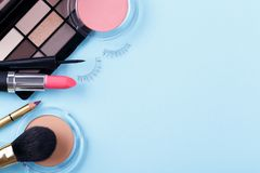 Professional makeup tools. Brushes rouge eye shadows palette flat lay composition copy space stock photos
