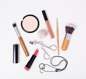 Professional makeup tools, flatlay on white background Royalty Free Stock Photos