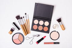 Professional makeup tools, flatlay on white background Royalty Free Stock Images