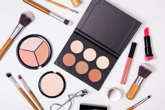 Professional makeup tools, flatlay on white background Royalty Free Stock Photography