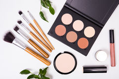 Professional makeup tools, flatlay on white background Stock Photography