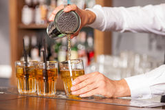 Professional male bartender is mixing drink in pub Royalty Free Stock Photo