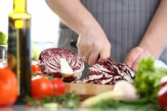 Professional Male Chef Chopping Purple Cabbage. Man in Apron Cutting Organic Cole by Knife with Sharp Blade on Wooden Board. Cooking Delicious and Healthy royalty free stock photos