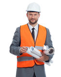 Professional male construction businessman with his blueprints Royalty Free Stock Images