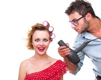 Professional male hairdresser Stock Photos
