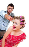 Professional male hairdresser Royalty Free Stock Images