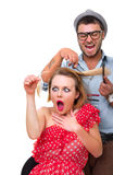 Professional male hairdresser Stock Photography