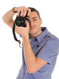 Professional male photographer taking picture Royalty Free Stock Photos