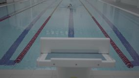 Professional male swimmer in indoor pool swimming across track. Healthy lifestyle. Sports and recreation. Athletic professional swimmer hardly working out in stock video