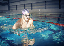 Professional male swimmer Stock Images