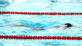 Professional male swimmer swimming in the pool stock video footage