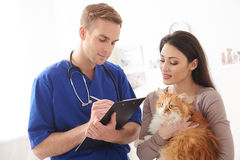 Professional male vet is making some notes. Skillful young veterinarian is writing prescription for ill animal. He is standing and carrying folder. Woman is Stock Images