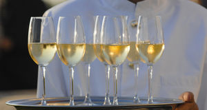 Professional male waiter in uniform serving champagne. Dri Stock Images