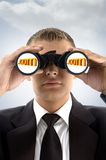 Professional Man Eyeing With Binoculars Stock Photos