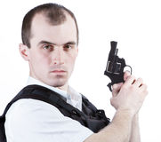 Professional man with gun Royalty Free Stock Photo