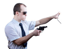 Professional man with gun Royalty Free Stock Photos