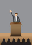 Professional Man Public Speaking at Lectern Vector Illustration Royalty Free Stock Images