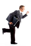 Professional man running with office bag Royalty Free Stock Photos