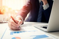 Professional manager working with finance document Royalty Free Stock Photography