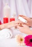 Professional manicurist  making manicure Stock Image