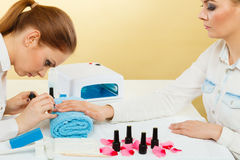 Professional manicurist painting woman nails. Royalty Free Stock Photos