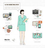 Professional marketing expert. Infographic skills resume with work tools, equipment and icons Royalty Free Stock Image