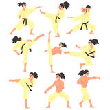 Professional Martial Arts Sportsman Funny Character Set Stock Images