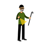 Professional masked burglar character with a crowbar and a flashlight  Illustration. On a white background Stock Photos
