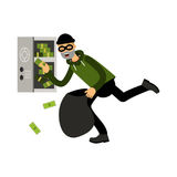 Professional masked burglar character stealing money from an open safe  Illustration Stock Photography