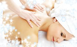 Professional massage with snowflakes #2 Royalty Free Stock Photography