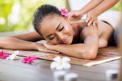 Professional masseur doing massage of female Royalty Free Stock Photos