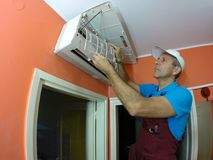 Air Conditioner Cleaning Royalty Free Stock Images