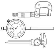 Professional measuring instrument. Line vector drawing Stock Image