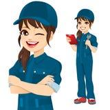 Professional Mechanic Woman Character stock photos