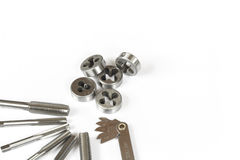 Professional mechanical hand tool set . Tap and die nuts for metal work. Stock Images