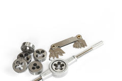 Professional mechanical hand tool set . Tap and die nuts for metal work. Royalty Free Stock Image