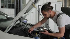 Professional mechanician male approaches open hood checks wiring automobile system, engine review, technical condition, stock video footage