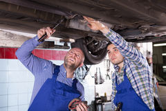 Professional mechanics repairing car Stock Image