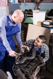 Professional mechanics repairing car Royalty Free Stock Photography