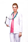 Professional medic holding clipboard Royalty Free Stock Image