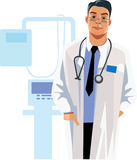 Professional men doctor, health care, men in uniforms, man face. Vector illustration of professional men doctor, health care, men in uniforms, man face Royalty Free Stock Photos