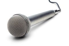 Professional microphone. With attached cable on white background Stock Photos