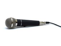 Professional microphone. Professional chrome and black microphone on white background Royalty Free Stock Image