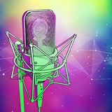 Professional microphone on a cold blue-green technological background is surrounded by a sound wave vector illustration