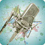 Professional Microphone & Floral calligraphy Royalty Free Stock Photo