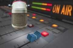 Free Professional Microphone In Radio Station Studio Royalty Free Stock Photography - 215751757