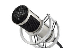 Professional microphone isolated. Studio shot of a professional microphone on pure white background stock images