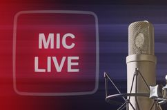 Professional microphone. And microphone live signal Stock Images